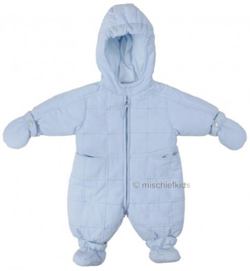 Emile et Rose 29801 1403 Blue Quilted Snowsuit, Booties and Mittens Set