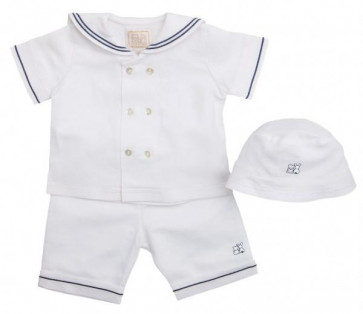 Emile et Rose E30025 Linen Mix Sailor Top Shorts and Hat Set