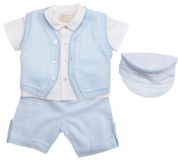 Emile et Rose 30028 9438 Blue Four Piece Shirts, Shorts and Knitted Waistcoat Set