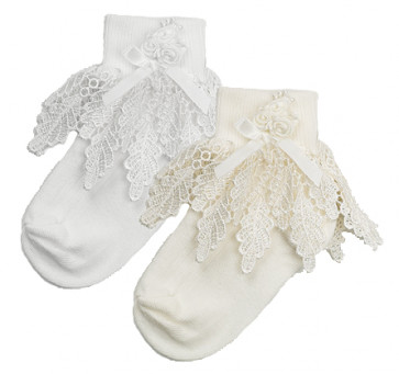 Frazer and James PDSA Princess Lace & Rose Socks WHITE OR IVORY