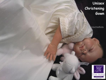 Little Darlings G206 Charlie Ivory Silk Unisex Christening Gown