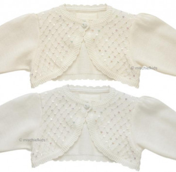 Little Darlings C9012 GRACE Sequin Cotton Bolero Cardigan IVORY or WHITE