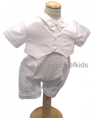 OCCASIONS BENJAMIN Boys Christening Romper and Jacket and Cap  WHITE