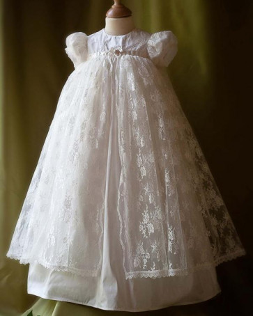 Angels and Fishes AMELIE Silk and Lace Christening Gown
