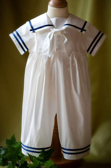 Angels and Fishes NOAH Sailor Romper IVORY or NAVY or SKY TRIM
