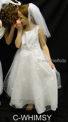 OCCASIONS C-WHIMSY A8198X White Satin and Tulle Communion Dress