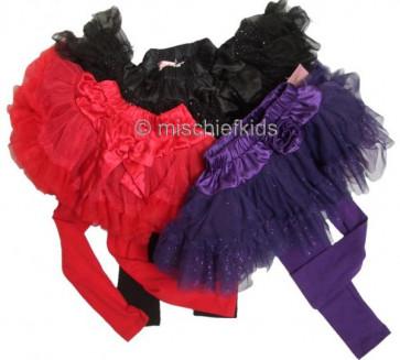 Fairytales Tutty Tutu Sparkle Skirt and Leggings Set Purple and Black