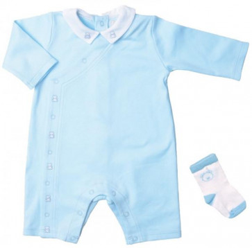 Emile et Rose E1478pb Blue Jersey Cotton Romper Onesie and Socks Set