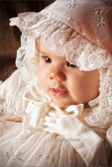 Little Darlings G2091 Gabriella Nottingham Lace Gown and Bonnet