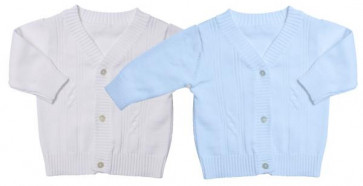 Emile et Rose 9184 Cotton Knit Cardigan in WHITE or BLUE