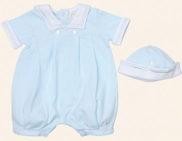 Emile et Rose E7182pb Blue Bubble Romper and Hat Set