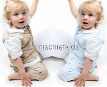 Emile et Rose Boys Linen Waistcoat, Shirt, Shorts and Cap Suit in STONE or PALE BLUE 9501 9455