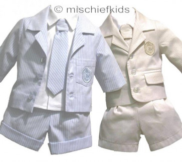 Little Darlings LD1734A Jacket, Shorts, Shirt and Tie in BLUE or BISCUIT