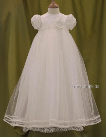 Angels and Fishes SPIRIT FAIRY Silk and Tulle Christening Gown CHOICE OF FLOWER COLOUR