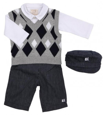 Emile et Rose E9461 Navy Diamond Knit 4 Piece Shirt, Tanktop, Trouser and Cap Set