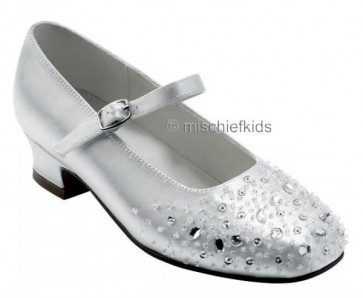 Little People 4099 SPANGLE White Satin Diamante Crystals Shoe
