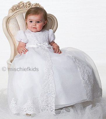 Sarah Louise 001165 Christening Gown and Bonnet Set | Baby Girl Baptism Dress
