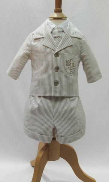 Little Darlings LD2241 and LD2240 Jacket, Shirt, Shorts and Tie Set in BEIGE STRIPE or CHAMBRAY BLUE