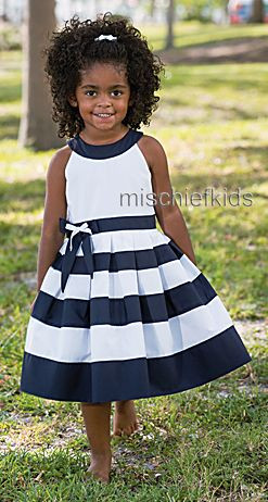 Sarah Louise 010x8869 Box Pleat Dress NAVY/WHITE