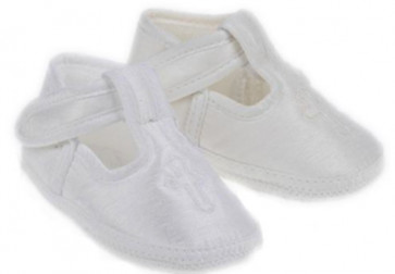 Early Days E034 Holy Cross T.Bar Pram Shoe IVORY or WHITE