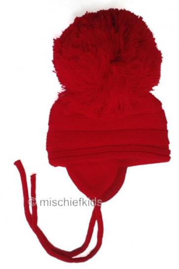 Satila PURL knit Huge Pom Hat RED