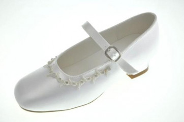 Little People 4864 White Satin Kitten Heel Shoe