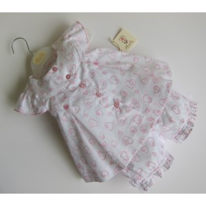 Abella AB5111 Dress and Bloomers White/Pink HEARTS PRINT