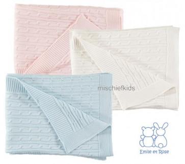 Emile et Rose E8163 ELDER & E8131 BAILEY Cable True Knit Blanket Shawl BLUE, PINK or WHITE
