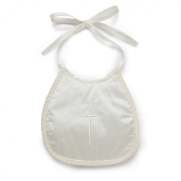 Little Darlings B2870 Holy Cross Silk Bib IVORY or WHITE or BLUE