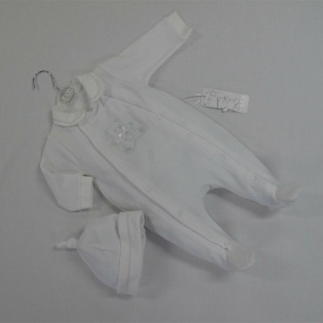 Coco CC4650 white velour onesie and hat set UNISEX