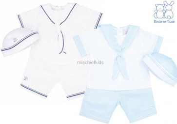 Emile et Rose 5284 CARLTON White/Blue Sailor Suit and Hat