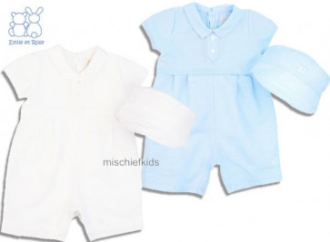 Emile et Rose 7209 CLARK True Knit Cotton and Linen Romper and Hat Set in BLUE or WHITE