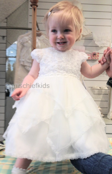 Sarah Louise 001093 Hannah Pointed Hem Ivory First Baptism Dress