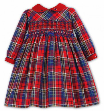 Sarah Louise 9573 Red and Blue Tartan Smock Dress