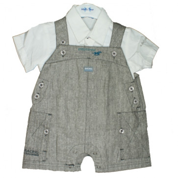 Abella AB4558 Boys Grey/White Shortie Dungarees and Shirt