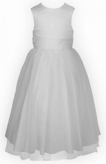 Frazer and James D922 Tulle and Satin Simple Sash Dress