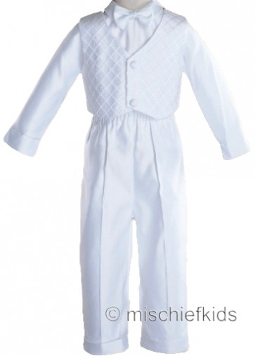 OCCASIONS NEIL LONG White Boys Waistcoat Trouser Shirt and Bow Tie Set