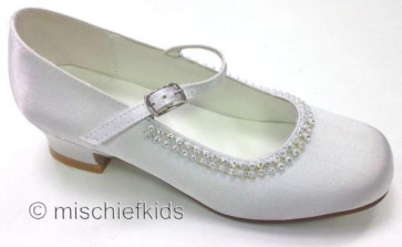 Little People 4963 White Satin Sparkle Kitten Heel Shoe