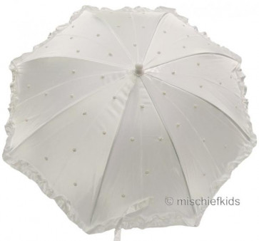 Little People 711SP White Beaded Communion or Bridesmaid Parasol