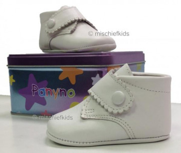 Couche Tot Panyno 1326 Soft Leather Pram Shoes WHITE