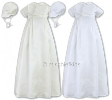 Sarah Louise 001088NC Christening Robe & Bib & Cap IVORY or WHITE