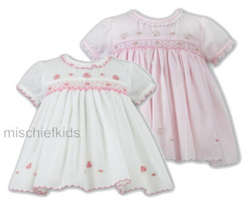 Sarah Louise 0109678 Baby Smocked Dress PINK or IVORY/PINK