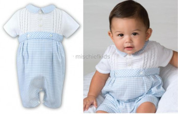Sarah Louise 010 9740 Fine Cable Knit & Gingham Romper WHITE/BLUE