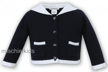 Sarah Louise 006 9827 Cardigan Jacket NAVY/WHITE