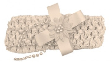Frazer and James  CROCHET Style Bow and Beads Headband IVORY