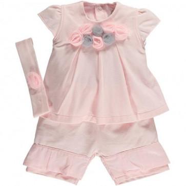 Emile et Rose 5290 ESTHER Pink Rosette Top and Shorts Set