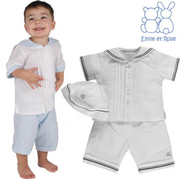 Emile et Rose 5296 EVAN Linen Sailor Suit and Hat