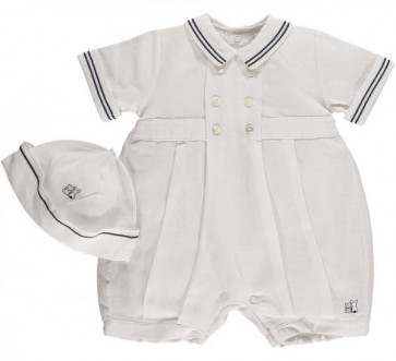 Emile et Rose 7218 ELLIS Linen Sailor Romper and Hat Set