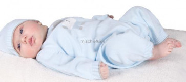 Emile et Rose 1582 DOUGIE Blue Cotton Knit Onesie Romper Set