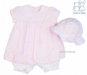Emile et Rose 7205 CAMILLE Pink Bubble Romper Dress and Hat